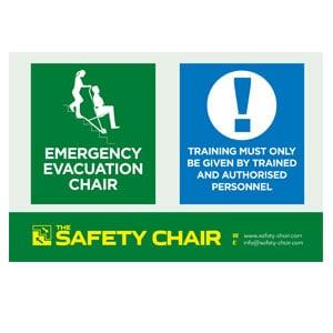 Evacuation chair wall sign